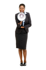 African American business woman holding megaphone isolated on wh