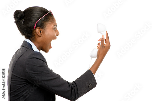 African American woman shouting at phone isolated on white backg