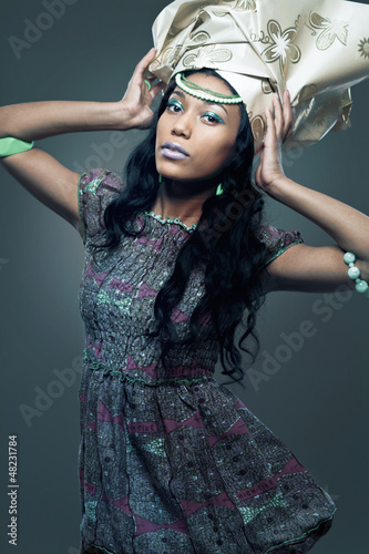 Young African-american fashion model.