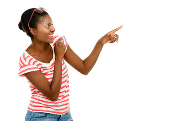 Happy African American Woman pointing fingers