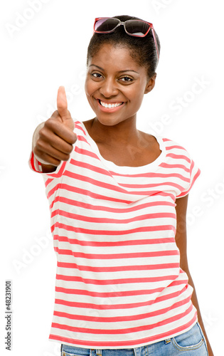 Beautiful African American woman happy thumbs up isolated on whi