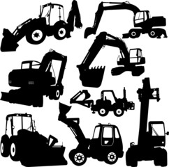 excavator silhouette - vector