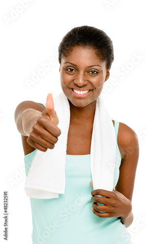 Happy healthy young black woman thumbs up isolated on white back