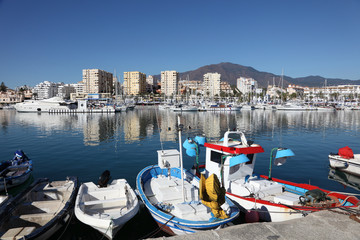 Fishing boats in the port of Estepona, Andalusia Spain