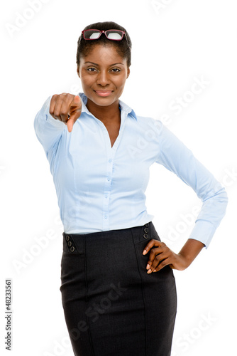 Happy African American business woman pointing isolated on white