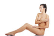 Sexy fit naked woman with healthy clean skin