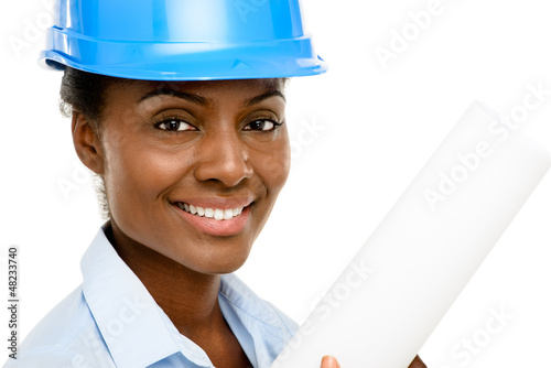 Happy African AMerican business woman architect holding blueprin