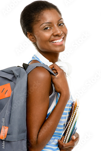 Successful African American Student woman back to school isolate