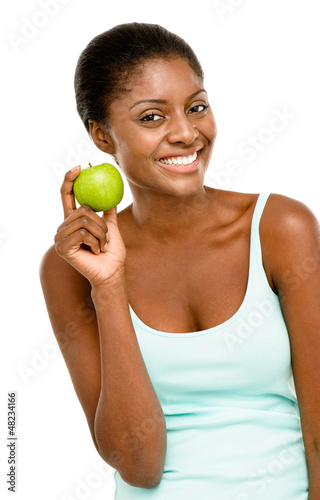 Healthy African American woman holding fresh green apple isolate