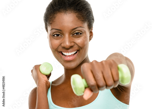Healthy African American Woman exercising using dumbells isolate