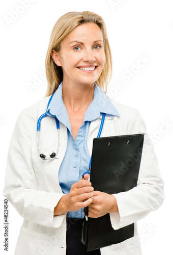 Doctor woman nurse friendly trusted isolated on white background
