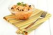 Italian spaghetti in glass bowl on wooden table