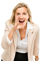 Mature woman shouting isolated on white background