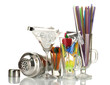 Cocktail shaker and  other bartender equipment isolated on