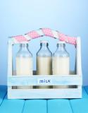 Milk in bottles in wooden box