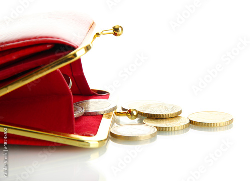female red wallet with coins isolated on white