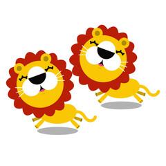 illustration of cartoon cute lions