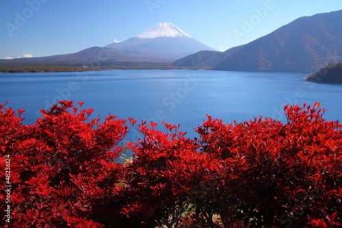 Mt. Fuji and Lake Motosu in autumn, Japan
