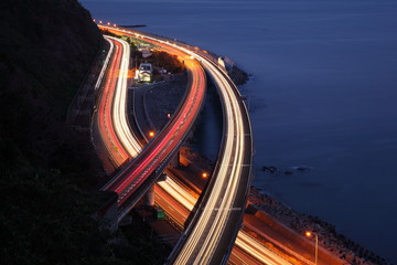 Night view of Tomei Expressway