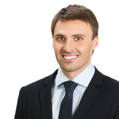 Happy smiling young businessman, isolated
