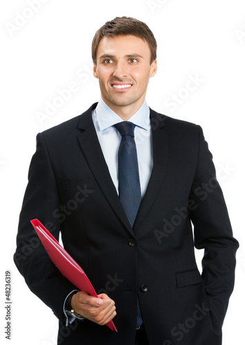 Businessman with red folder, isolated