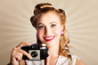 Young Smiling Vintage Girl Taking Photo