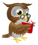 Fototapety Cartoon Owl Reading a Book