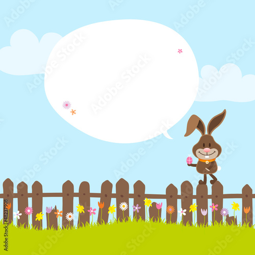 Bunny on Fence Holding Easter Egg Speech Bubble
