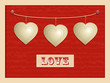 Love and hanging hearts background2