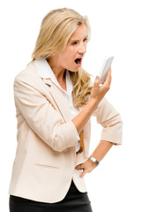 Unhappy woman fighting using mobile phone isolated on white back