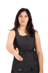Businesswoman gives hand