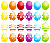 24 Easter Eggs Dots/Stripes/Butterflies