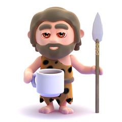 Caveman drinks a nice cup of tea