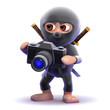 Ninja takes a photograph with his SLR camera