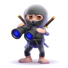 Ninja watches through his binoculars