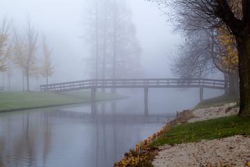 wooden bridge in fog