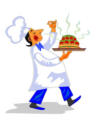 Funny chef with fragrant dish in hand
