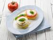 mozzarella tomatoes and porridge, vegetarian appetizer