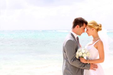 Bride and groom on a romantic moment