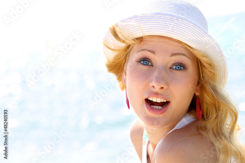 Closeup of beautiful girl at the beach