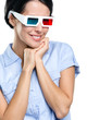Viewer in 3D glasses, isolated on white