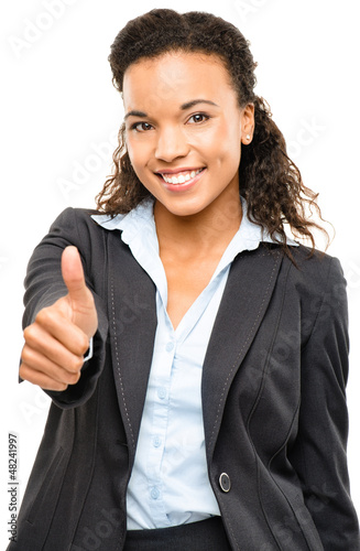 Attractive African American businesswoman thumbs up isolated on