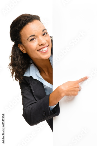 Pretty African American Businesswoman holding billboard isolated