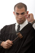 Young african american judge holding gavel