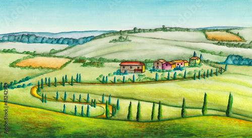 Foto op Canvas Boerderij Rural landscape