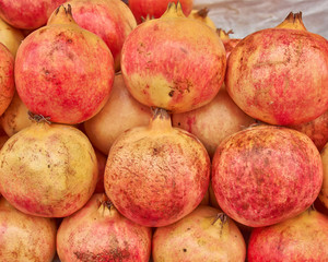 pomegranates closeup,  natural background