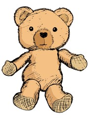 hand drawn, vector, sketch illustration of teddy bear