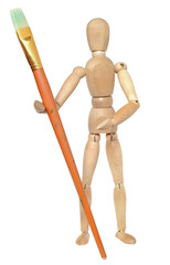 Wooden dummy with a paint brush