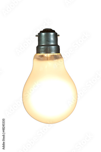 lit lightbulb on white
