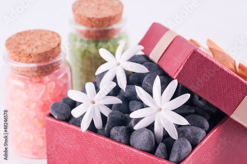 Wellness gift box with black zen stones and bath salts